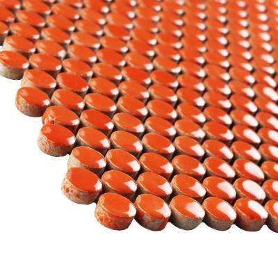 Quasar Penny Round Orange 11-1/4 in. x 11-3/4 in. x 9 mm Porcelain Mosaic Tile