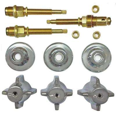 3 Valve Rebuild Kit for Tub and Shower with Chrome Handles for Central Brass