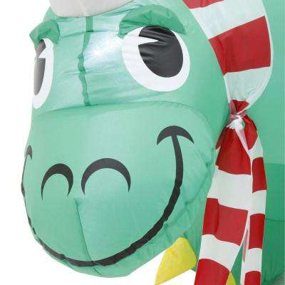 Christmas 9 ft. Inflatable Santa Hat Stegosaurus
