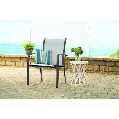 Commercial Grade Aluminum Oversized Outdoor Patio Dining Chair in Sunbrella Augustine Alloy (2-Pack)