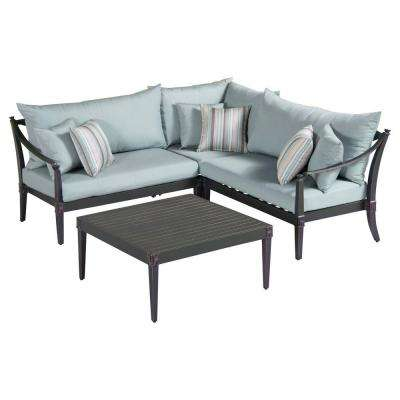 Astoria 4-Piece Patio Corner Sectional and Conversation Table Set with Bliss Blue Cushions