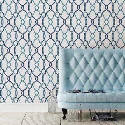 Sausalito Navy Lattice Wallpaper