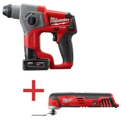 M12 FUEL 12-Volt Lithium-Ion Cordless Brushless 5/8 in. SDS Plus Rotary Hammer Kit with M12 Multi-Tool