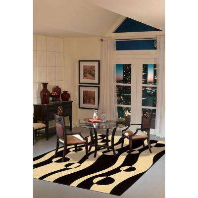 Parallels Black/White 2 ft. x 8 ft. Runner Rug