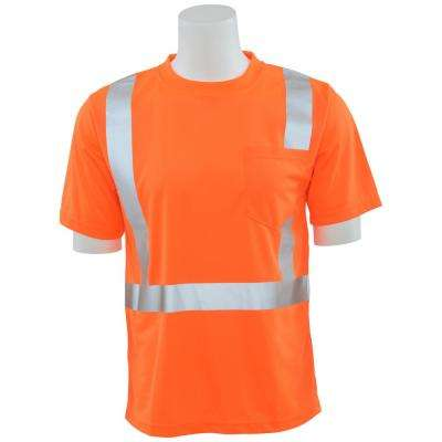 9006S Class 2 Short Sleeve Hi Viz Orange Unisex Birdseye Mesh T-Shirt