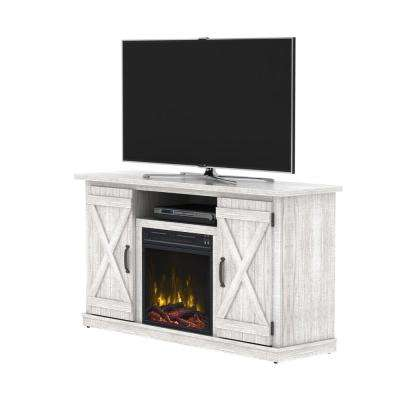 Cottonwood 55 in. Media Console Electric Fireplace in White