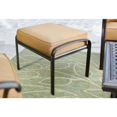 Ridge Falls Dark Brown Aluminum Outdoor Patio Ottoman with Sunbrella Canvas Cork Tan Cushions (2-Pack)