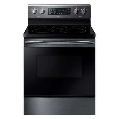 30 in. 5.9 cu. ft. Single Oven Electric Range with Self-Cleaning and Convection Oven in Black Stainless Steel