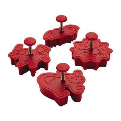 Decorating Tools 4-Piece Halloween Fondant Press Set in Red