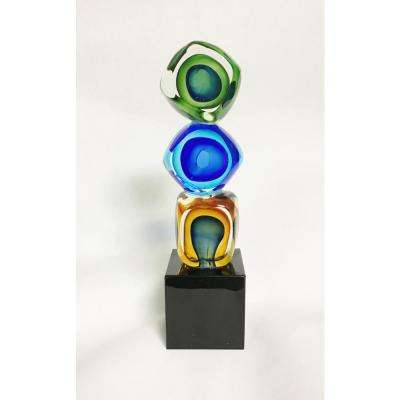 Murano Style Art Glass 8 in. Tricolore Cubed Abstract Centerpiece