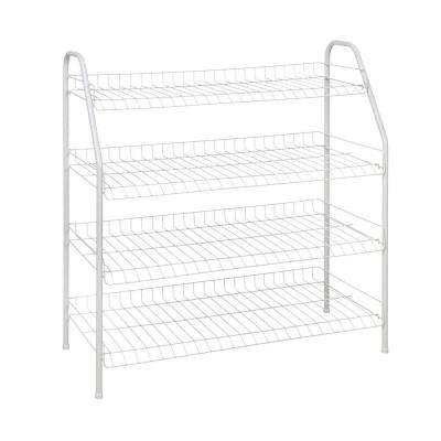 28 in. H x 26 in W x 12 in. D 4-Shelf Ventilated Wire Shoe Rack in White