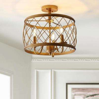 Eleanor 15 in. 3-Light Antiqued Gold Metal LED Semi Flush Mount Ceiling Light