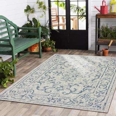 Sun Shower Navy/Gray 5 ft. x 8 ft. Indoor/Outdoor Rectangular Area Rug