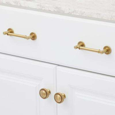 Minted 4 in. Center-to-Center Satin Brass Cabinet Pull