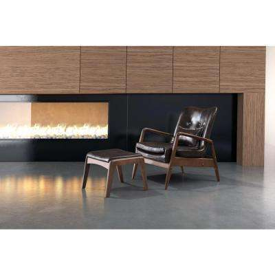 Bully Brown Leatherette Lounge Chair with 1 Ottoman