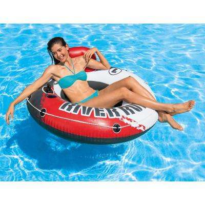 River Run 1 53 in. Red Inflatable Floating Water Tube Lake and Pool Raft (2-Pack)