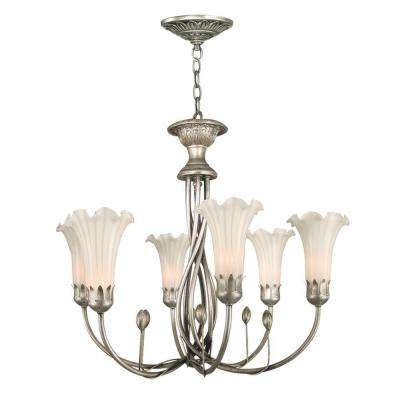 White Lily 6-Light Silver Hanging Chandelier