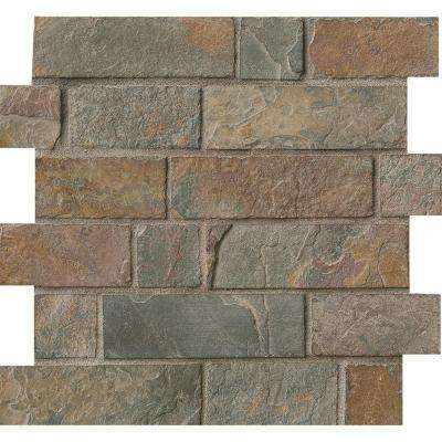California Gold Brick 12 in. x 12 in. x 8 mm Tumbled Slate Mesh-Mounted Mosaic Tile (10 sq. ft. / case)