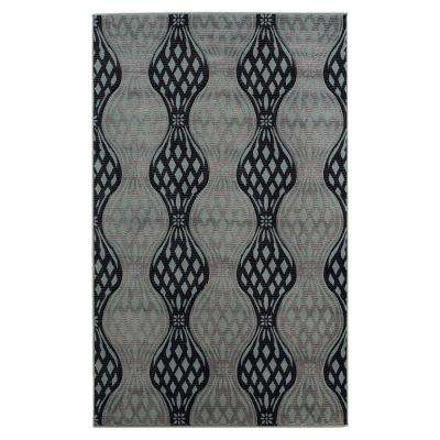 Milan Collection Black and Turquoise 5 ft. x 7 ft. 7 in. Indoor Area Rug