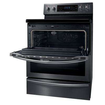 30 in. 5.9 cu. ft. Flex Duo Double Oven Electric Range with Self-Cleaning in Fingerprint Resistant Black Stainless