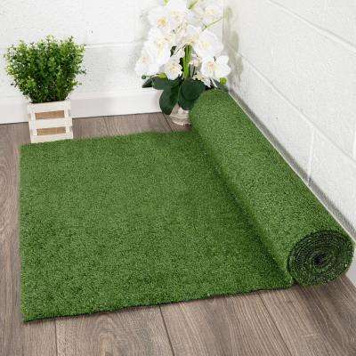 Evergreen Collection Green 1 ft. 4 in. x 4 ft. Solid Runner Rug