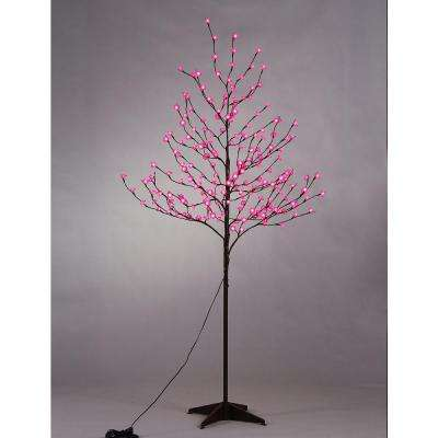 6 ft. 3-Watt Pink Rose Flower Tree with 208 Warm White LED Lights