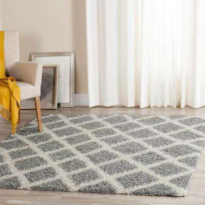 Dallas Shag Gray/Ivory 6 ft. x 6 ft. Square Area Rug