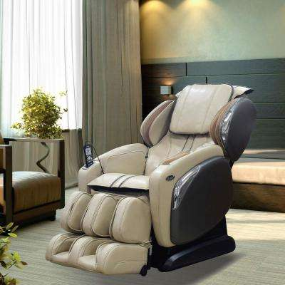 Leather Massage Chair with L-Track Massage Function, Heating, Zero Gravity, and Foot Massager in Ivory