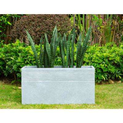 31.5 in. L Slate Gray Lightweight Concrete Modern Rectangle Outdoor Planter