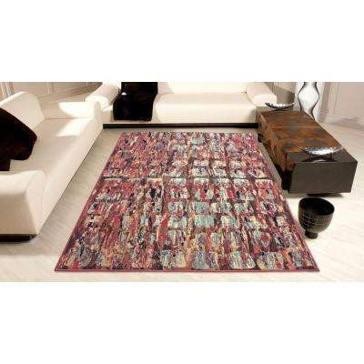 Modesto Squares Red 8 ft. x 11 ft. Area Rug