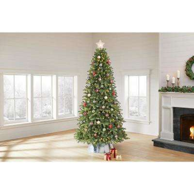9 ft Manchester White Spruce LED Pre-Lit Artificial Christmas Tree with 600 SureBright Color Changing Lights