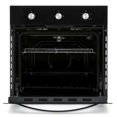 24 in. Under-Counter Gas Single Wall Oven with Rotisserie and Broil Function in Black