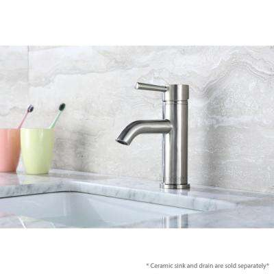 Single Hole Single-Handle Bathroom Faucet with drain in Brushed Nickel