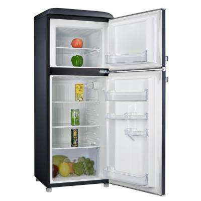 4.6 cu. ft. Retro Mini Fridge with Dual Door True Freezer in Black