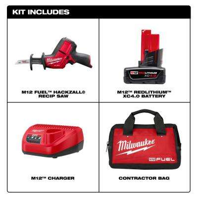 M12 FUEL 12-Volt Lithium-Ion Brushless Cordless HACKZALL Reciprocating Saw Kit w/(1) 4.0Ah Batteries, Charger & Tool Bag