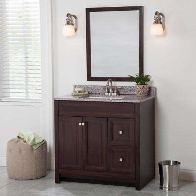 Brinkhill 37 in. W x 22 in. D Bath Vanity in Chocolate with Stone Effect Vanity Top in Mineral Gray with White Sink