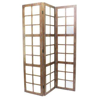 Mirror 7 ft. Brown 3-Panel Room Divider