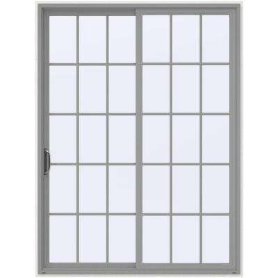 72 in. x 96 in. V-4500 Arctic Silver Prehung Left-Hand Sliding 15 Lite Vinyl Patio Door with White Interior