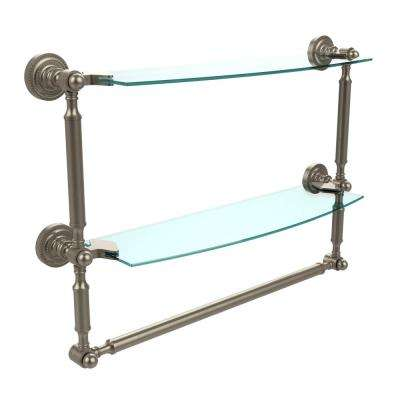 Dottingham Collection 18 in. 2-Tiered Glass Shelf with Integrated Towel Bar in Antique Pewter