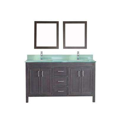 Dawlish 60 in. Vanity in French Gray with Glass Vanity Top in Mint and Mirror