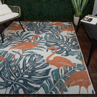 Coral Flamingos 5 ft. x 7 ft. Indoor/Outdoor Area Rug