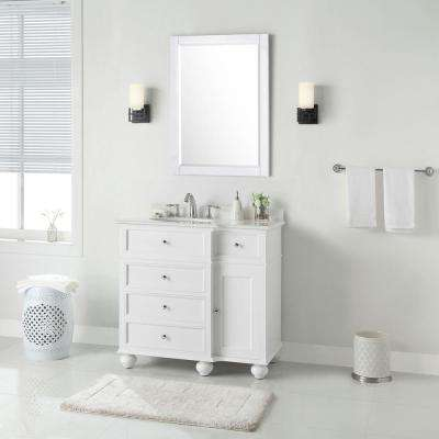 Hampton Harbor 36 in. W x 22 in. D in White Bath Vanity with Cultured Marble Vanity Top in White with White Sink