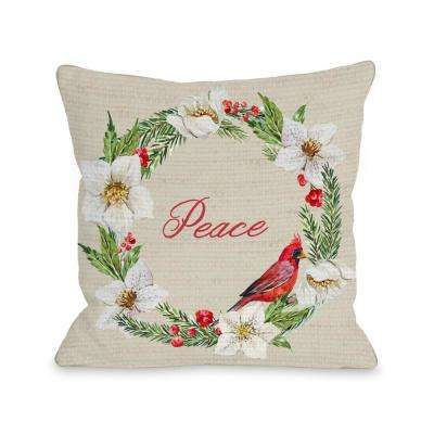 Cardinal Wreath Peace 16 in. x 16 in. Decorative Pillow