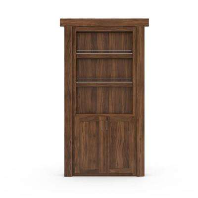 36 in. x 80 in. Flush Mount Assembled Forward Pantry Door Walnut Natural Stained Right-Hand Outswing