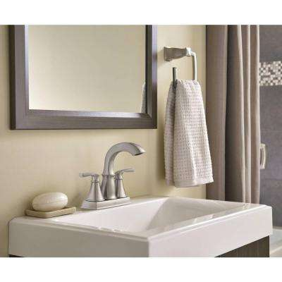 Hensley 4 in. Centerset 2-Handle Bathroom Faucet Featuring Microban Protection in Spot Resist Nickel (2-Pack)
