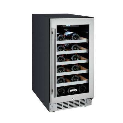 25-Bottle Seamless Stainless Steel Single Zone Built-In Wine Cooler