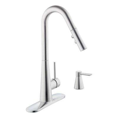 950 Series Single-Handle Pull-Down Sprayer Kitchen Faucet with Soap Dispenser in Stainless Steel