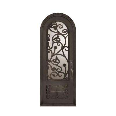 38 in. x 110 in. Fero Fiore Classic Center Arch Painted Oil Rubbed Bronze Decorative Wrought Iron Prehung Front Door