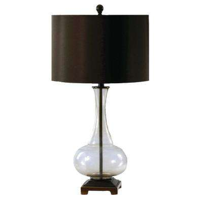 31.25 in. Smoke Glass and Aged Brass Table Lamp