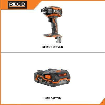 18-Volt Lithium-Ion Cordless Brushless 1/4 in. 3-Speed Impact Driver with Belt Clip with 1.5 Ah Lithium-Ion Battery